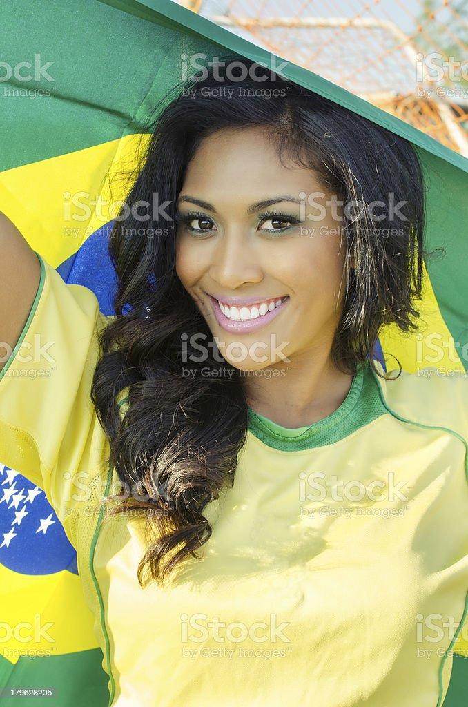 Brazil soccer football fan. royalty-free stock photo