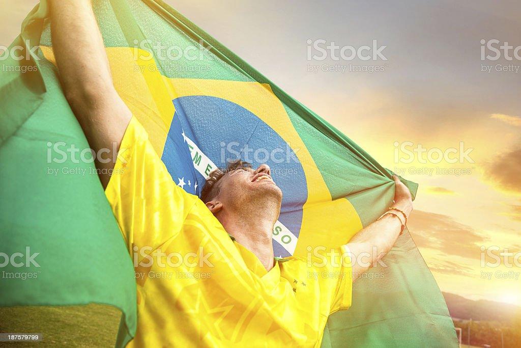 Brasil Jogador de futebol ganha o jogo - foto de acervo