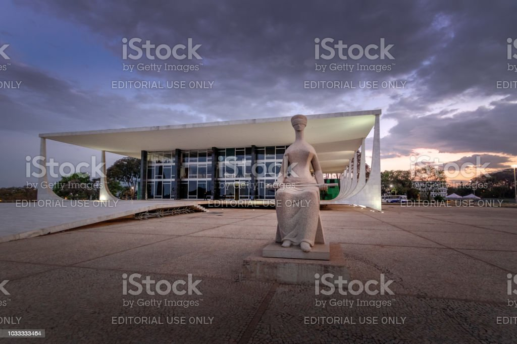 Brazil Supreme Court (Supremo Tribunal Federal - STF) at night - Brasilia, Distrito Federal, Brazil stock photo