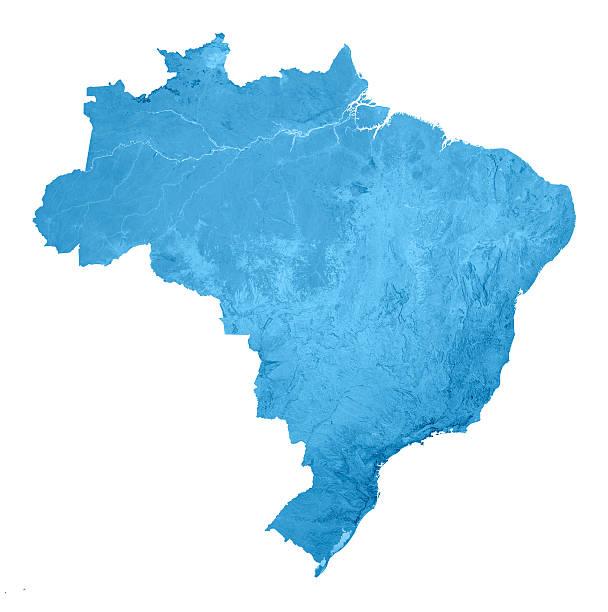 Brasil Topographic mapa isolado - foto de acervo