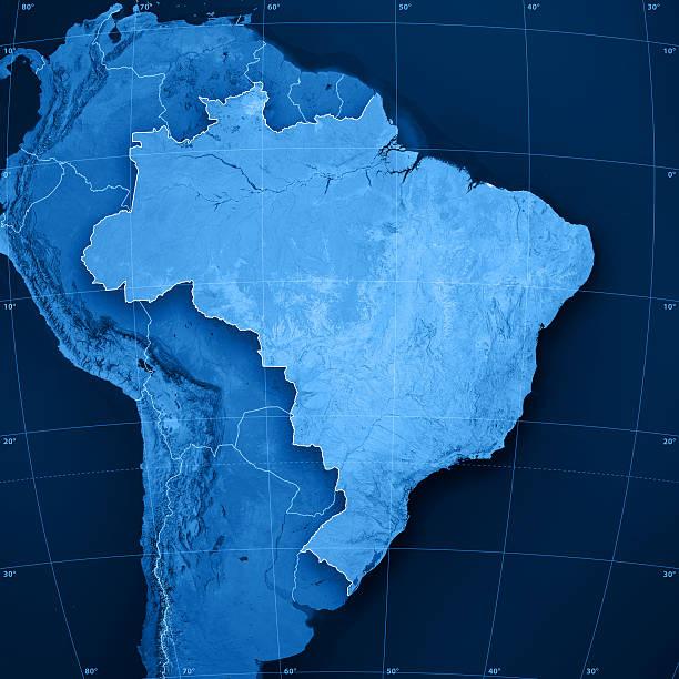 Brasil Topographic mapa - foto de acervo