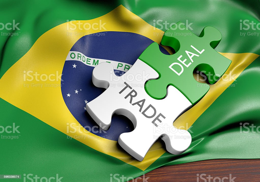 Brazil trade deals and international commerce concept, 3D rendering royalty-free stock photo