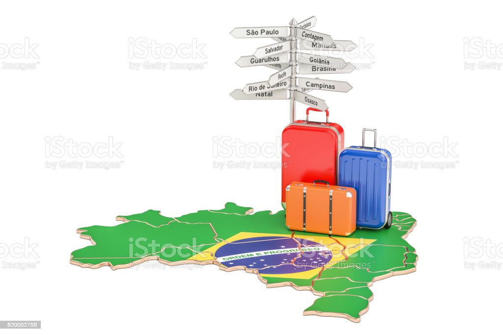 Brazil travel concept. Suitcases with signpost on Brazilian map, 3D rendering - fotografia de stock