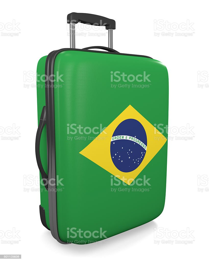 Brazil vacation destination concept of a flag painted travel suitcase stock photo