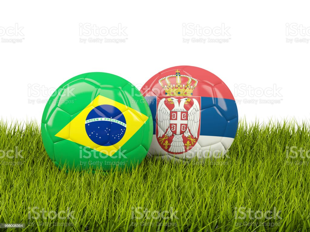 Brazil vs Serbia. Soccer concept. Footballs with flags on green grass - fotografia de stock