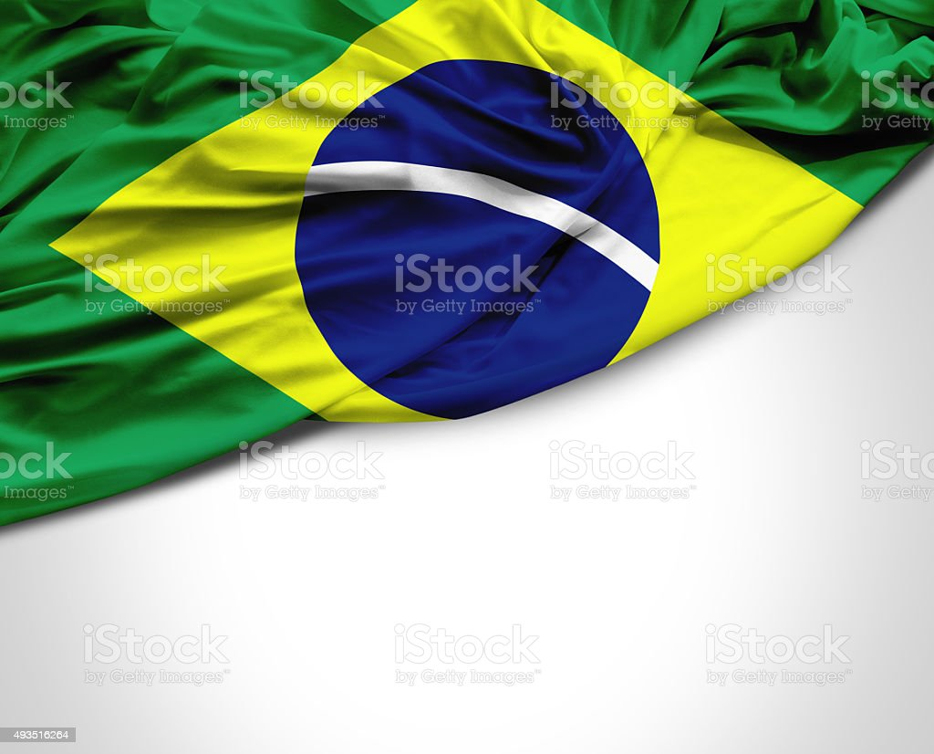 Brazil waving flag on white background stock photo
