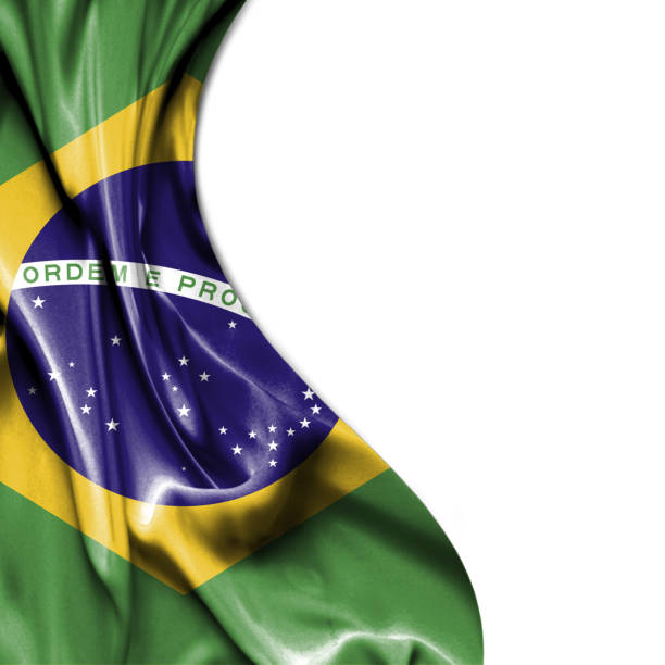 Brazil waving satin flag isolated on white background stock photo