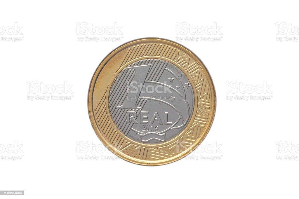 Brazilian '1 Real' coin 2016 stock photo