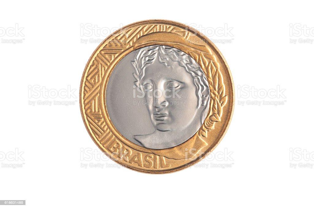 Brazilian '1 Real' coin stock photo