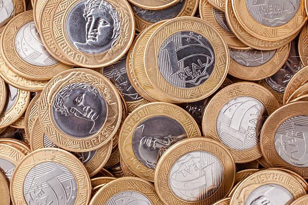 Brazilian 1 Real coins stock photo