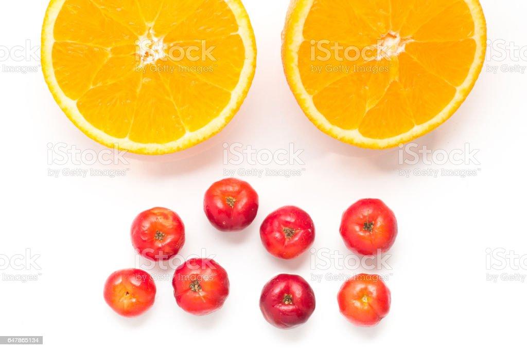 Brazilian Acerola Cherry and Orange Fruit stock photo