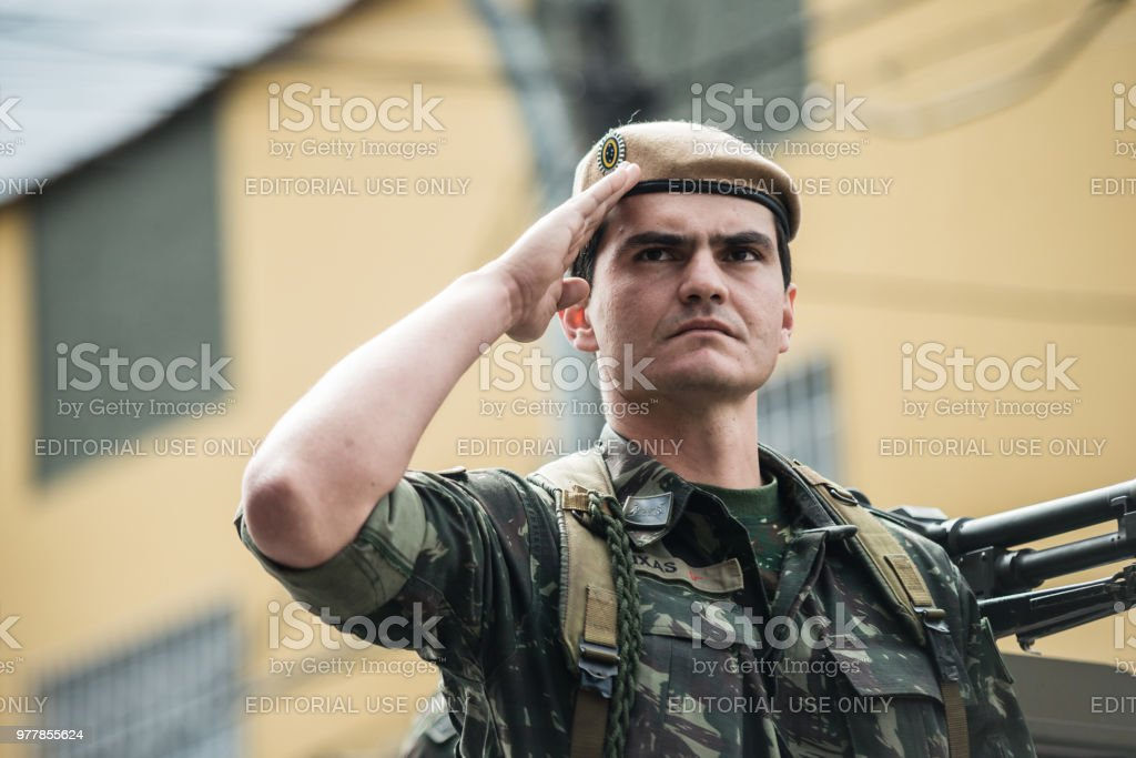 Brazilian army on the streets, civic parade stock photo