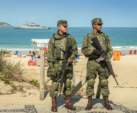 Brazilian army watch over tourists during Olympics