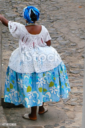 Brazilian Baiana Woman In Traditional Dress Salvador ...