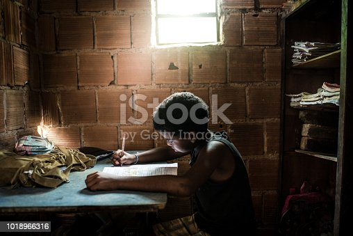 Brazilian girl studying at home