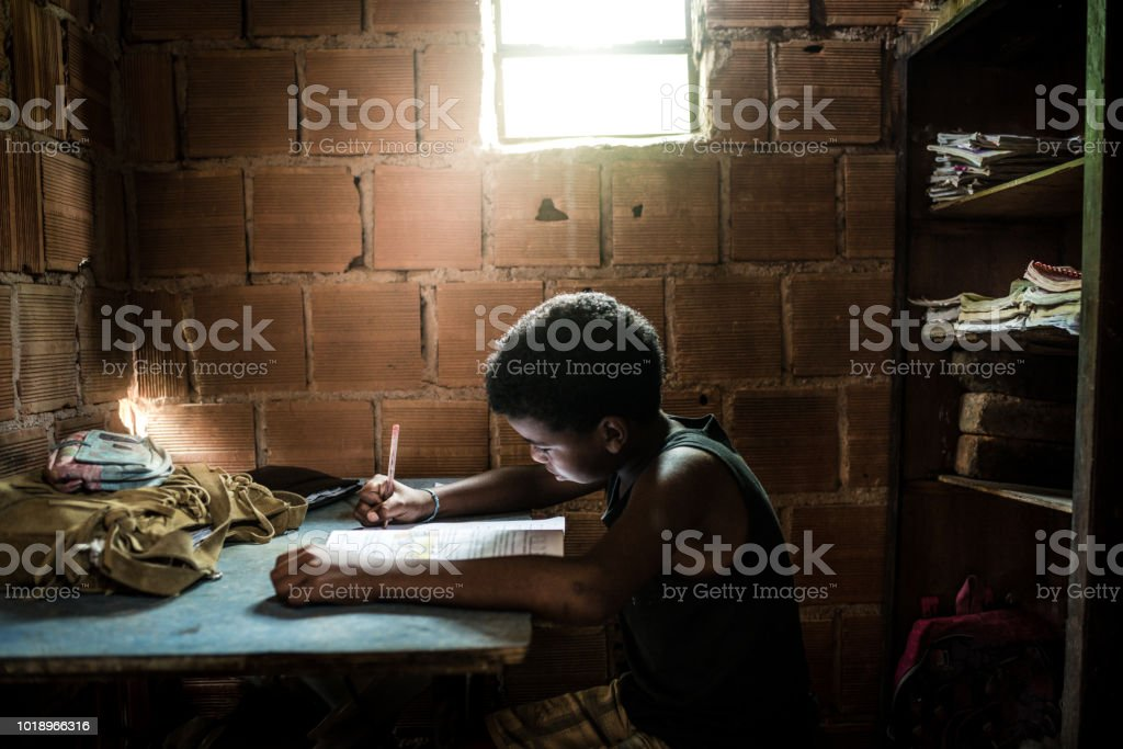 Brazilian boy studying at home stock photo