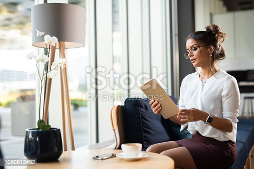 912944158istockphoto Brazilian businesswoman holding iPad. 1050613492