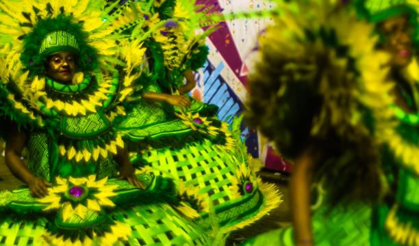 Carnaval brasileiro. Desfile do samba da escola Água na Boca na Avenida Princesa Isabel, em Ilhabela, Brasil, em 28 de fevereiro de 2017. - foto de acervo