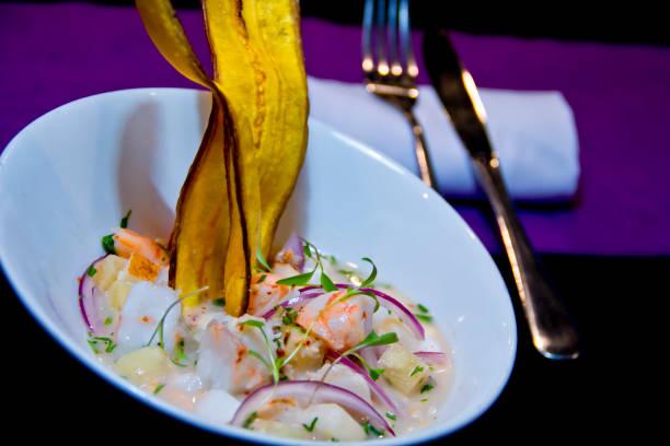 ceviche de brésilien et de plantains frits - jungle menu photos et images de collection