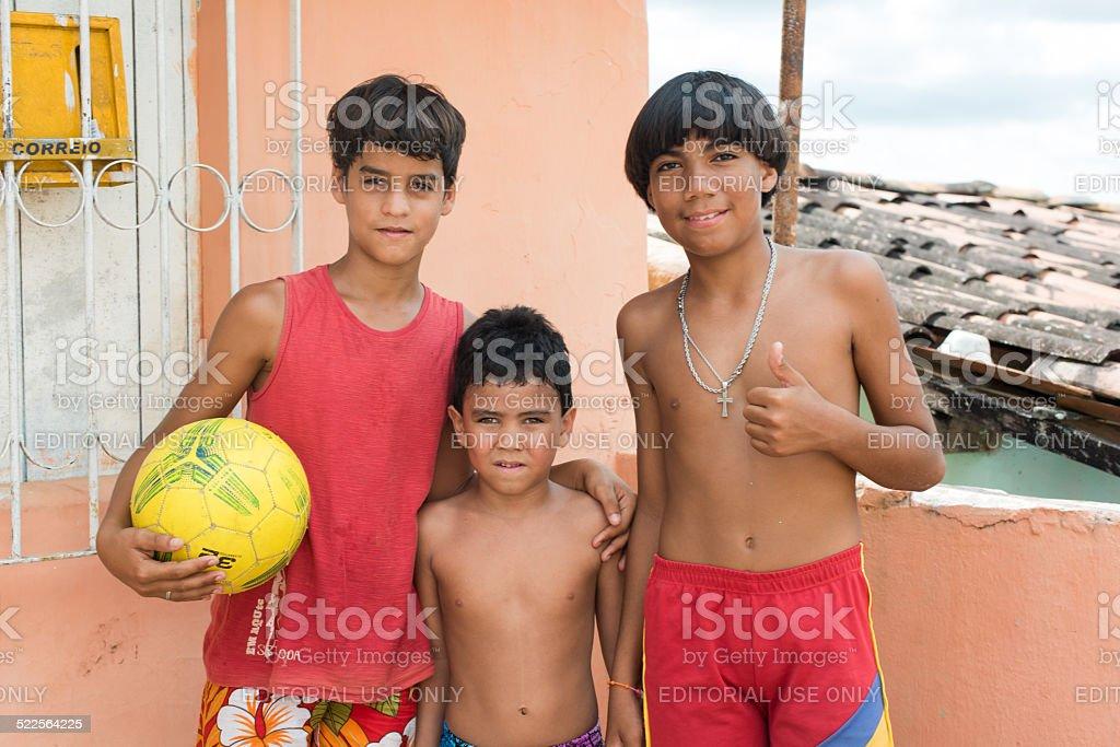 Brazilian children with ball stock photo