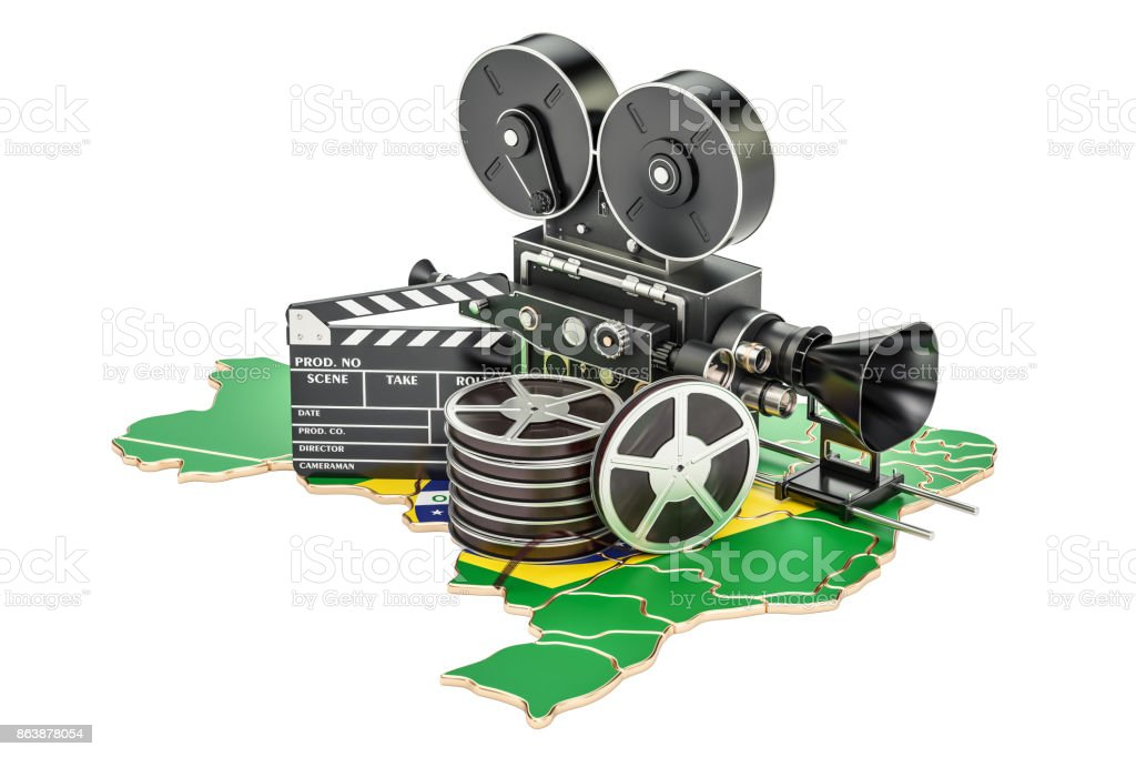 Brazilian cinematography, film industry concept. 3D rendering isolated on white background - fotografia de stock