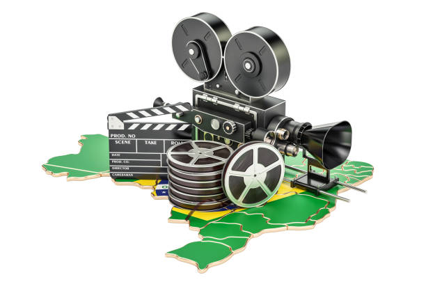 Brazilian cinematography, film industry concept. 3D rendering isolated on white background stock photo