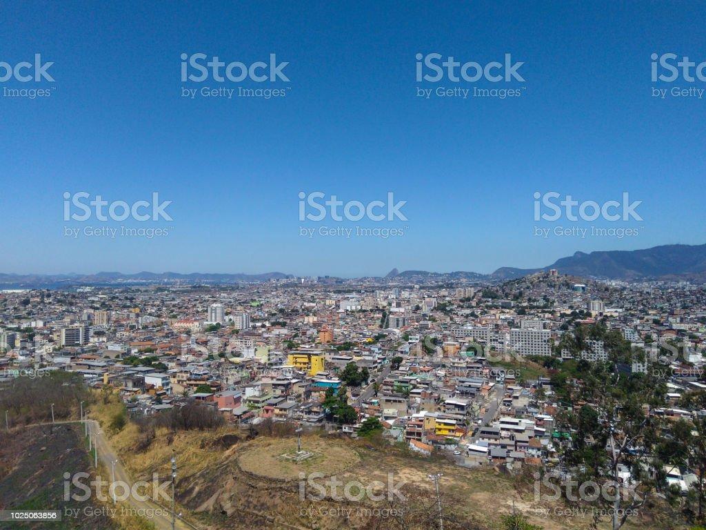 Brazilian city seen from above - Cidade brasileira visa de cima (Penha - Rio de Janeiro - Subúrbio carioca) stock photo