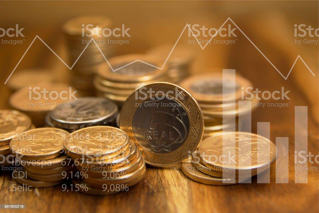 Brazilian coins stock photo