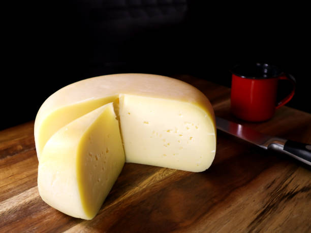 Brazilian Colonial Cheese or Queijo de Colonia from South of Brazil stock photo