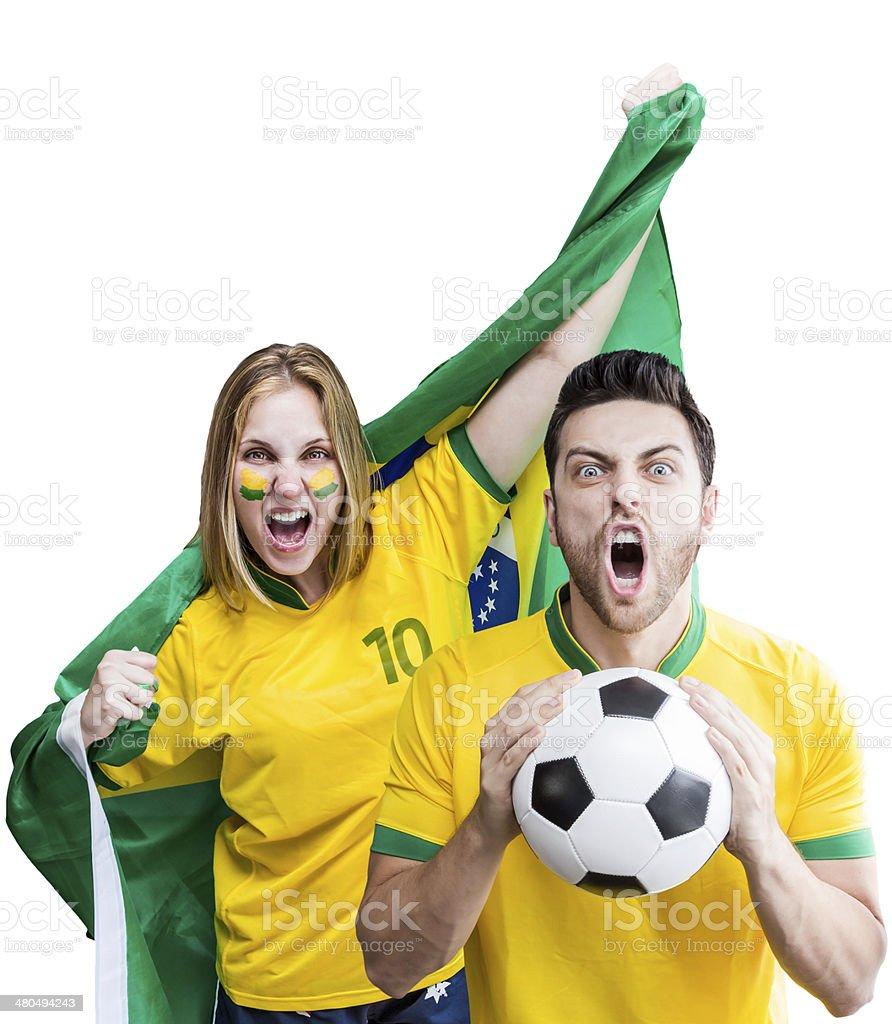 Brasileiro casal Comemore no fundo branco - foto de acervo