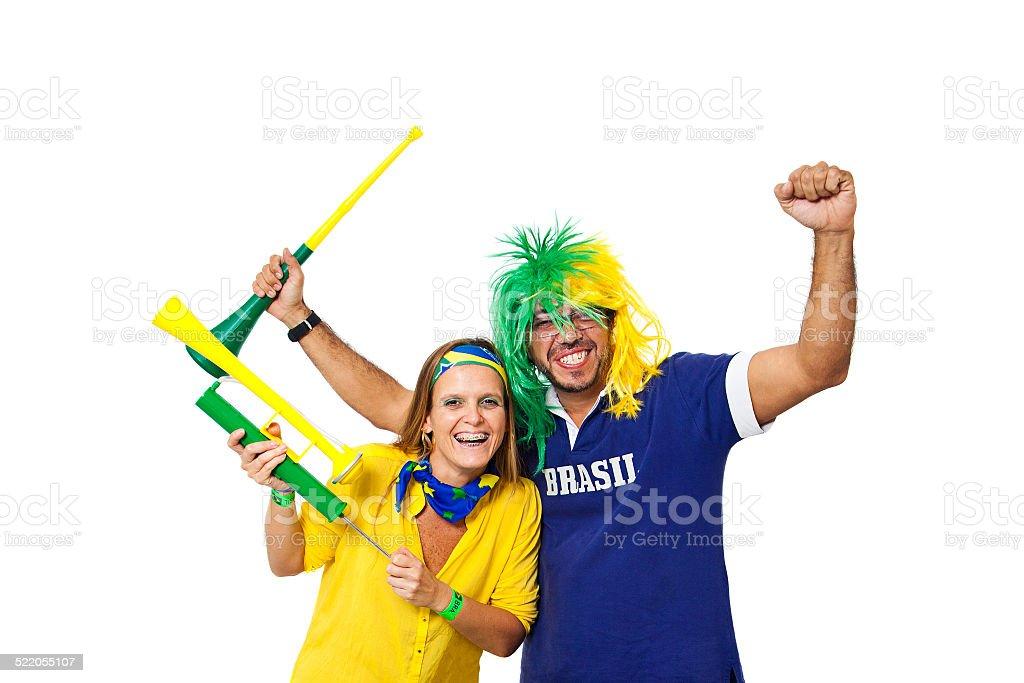 Torcedores brasileiros casal - foto de acervo