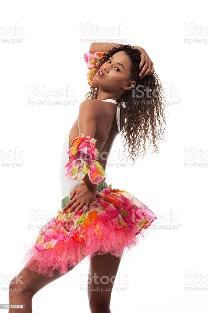 brazilian dancer isolated on white stock photo