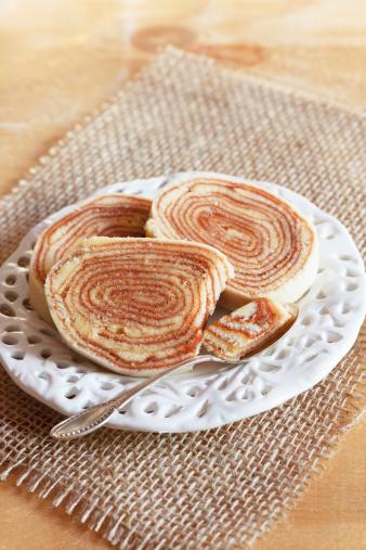 Brazilian dessert Bolo de rolo (swiss roll, roll cake)