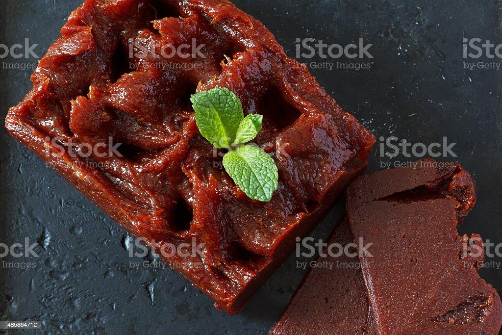 Brazilian dessert goiabada with mint stock photo
