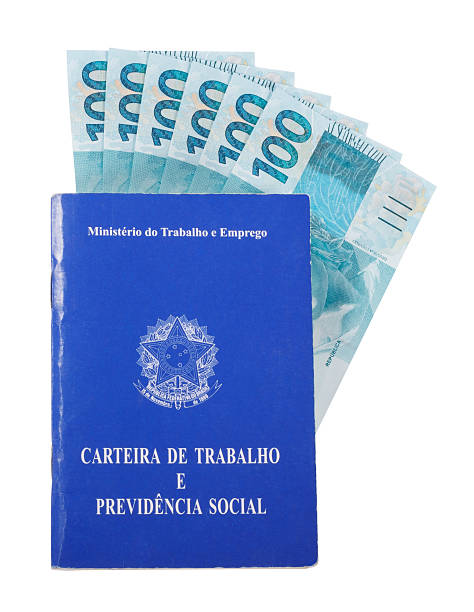 brazilian document for work and social security over money - wallet stock pictures, royalty-free photos & images