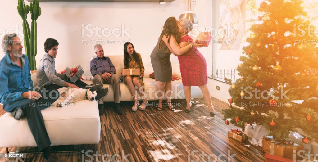 Brazilian family celebrating christmas stock photo