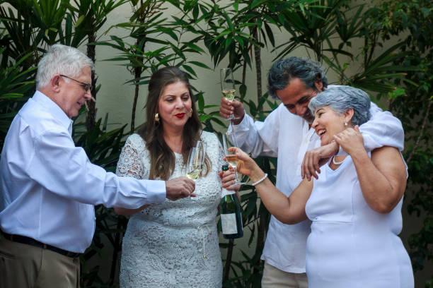 Brazilian family celebrating New Year stock photo