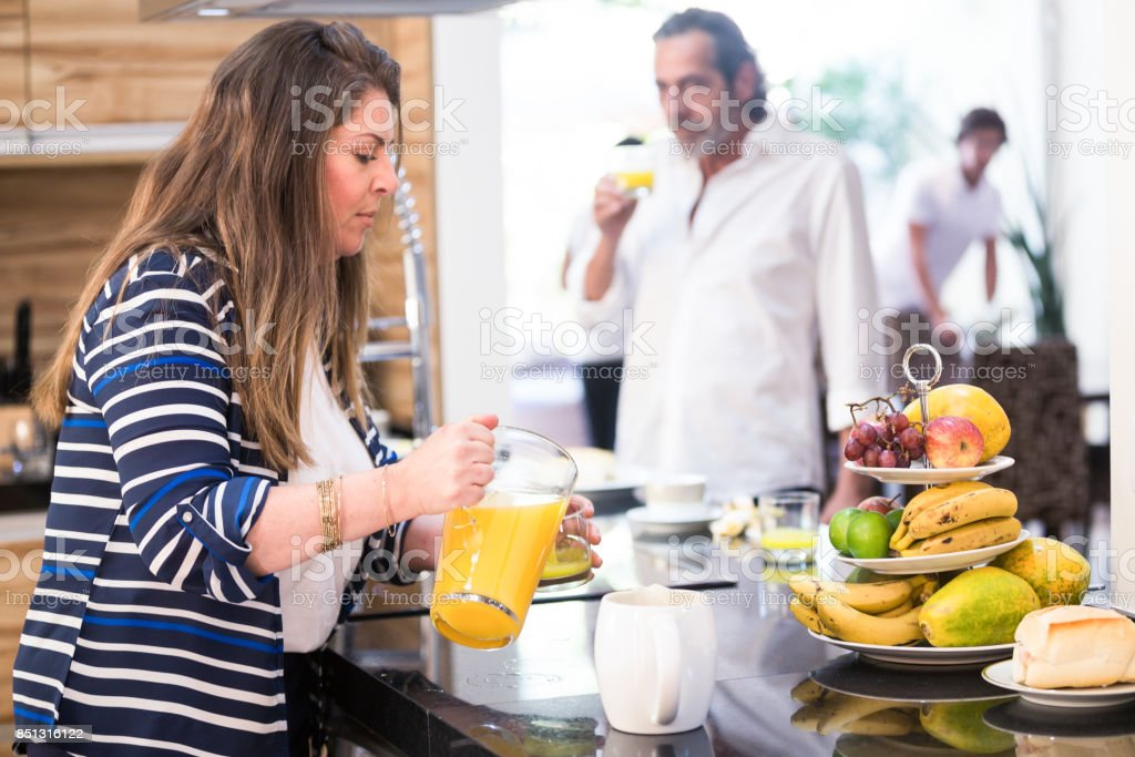 Brazilian family having breakfast stock photo