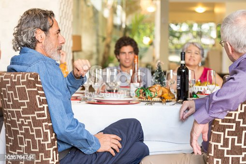 1035768506 istock photo Brazilian family sitting at dinner table celebrating Christmas together 1035764744