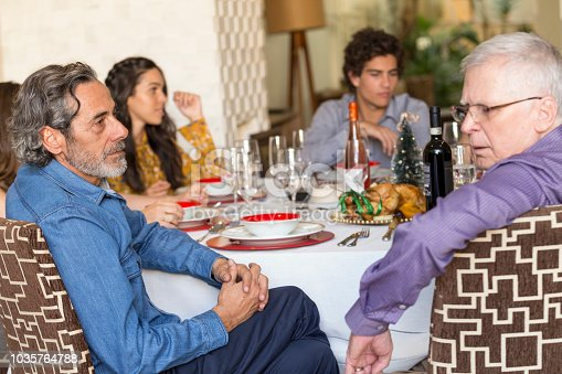 1035768506 istock photo Brazilian family sitting at dinner table celebrating Christmas together 1035764788
