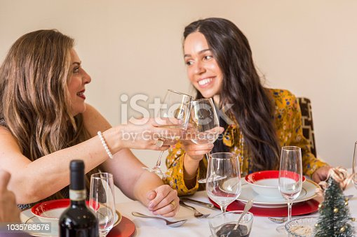 1035768506 istock photo Brazilian family sitting at dinner table celebrating Christmas together 1035768576