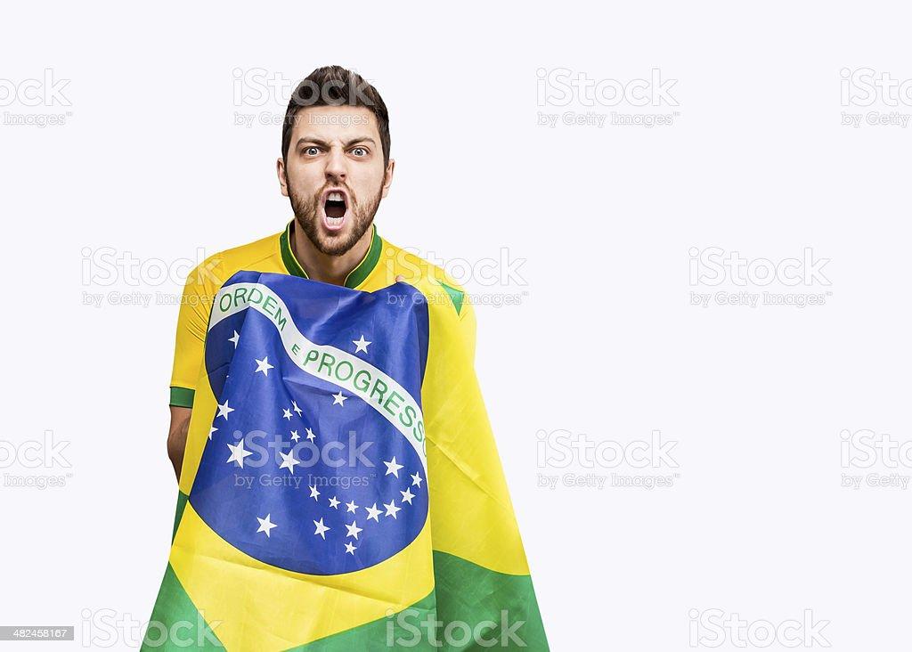 Brazilian fan Comemore no fundo branco - foto de acervo
