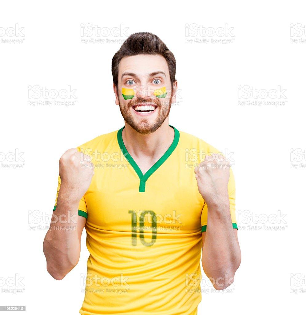 Brazilian fan celebra isolado no fundo branco - foto de acervo