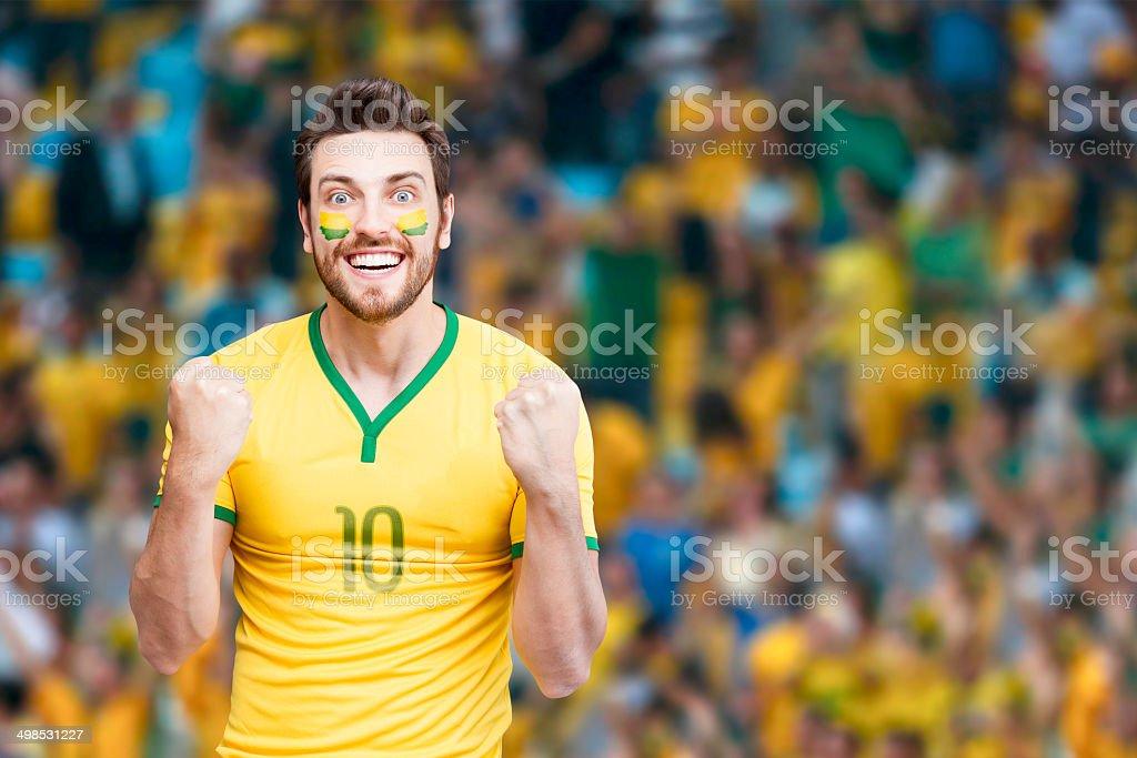 Brazilian fan celebra o estádio - foto de acervo