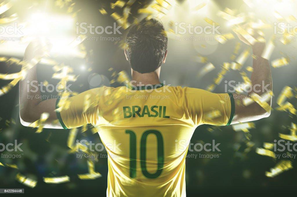 Brazilian fan celebrando - foto de acervo