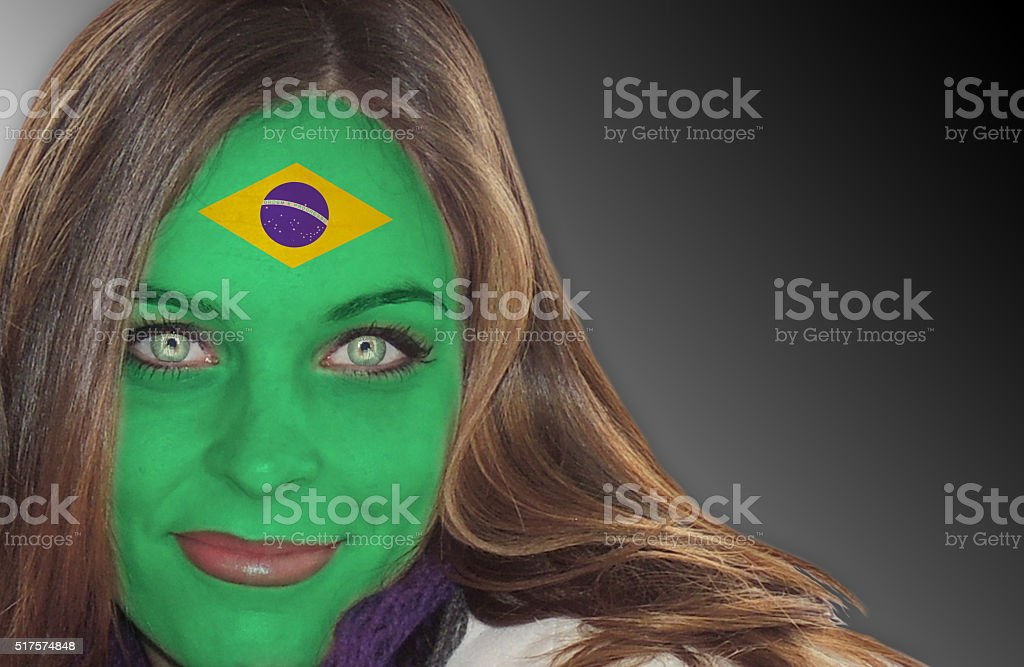 Brazilian fan patriot stock photo