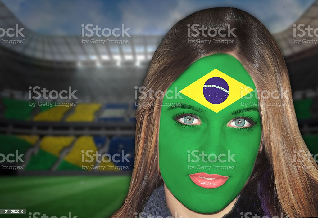 Brazilian fan patriots stock photo