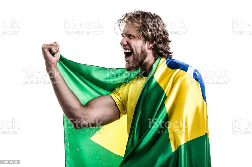Fã brasileiro / Sport jogador comemorando em fundo branco - foto de acervo