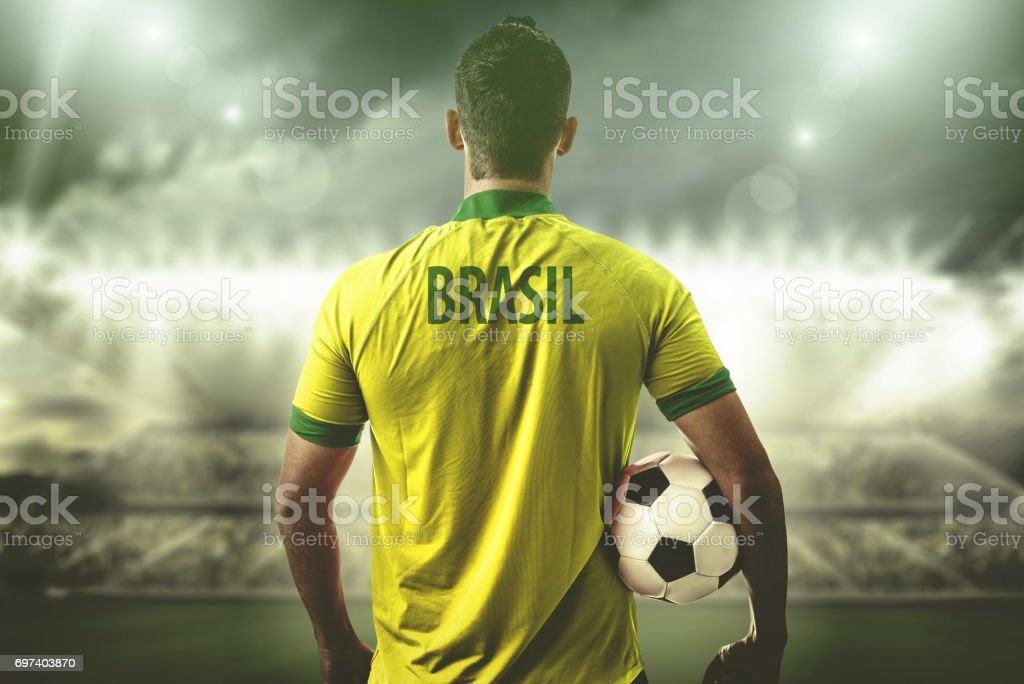 Brazilian Fan / Sport Player on uniform celebrating stock photo