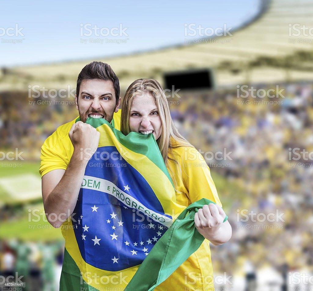 Fãs brasileiros Comemore no estádio - foto de acervo